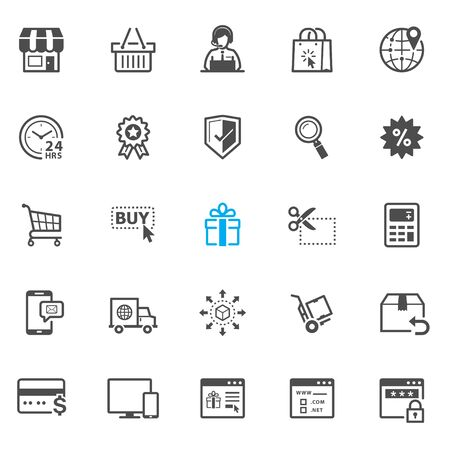 shopping icons: E-Commerce and online shopping icons with White Background Illustration