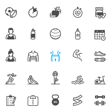 Fitness icons with White Background Stock Illustratie
