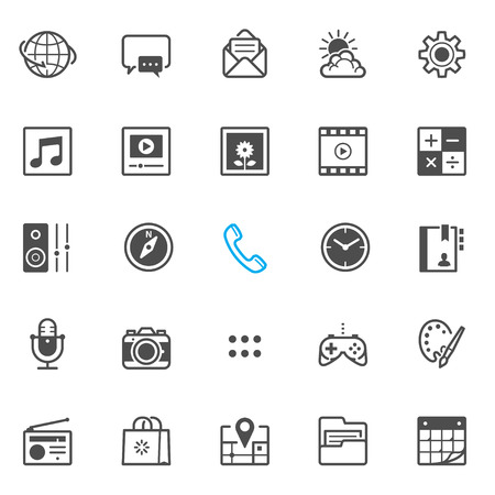 mobile application: Mobile Phone application icons with White Background Illustration