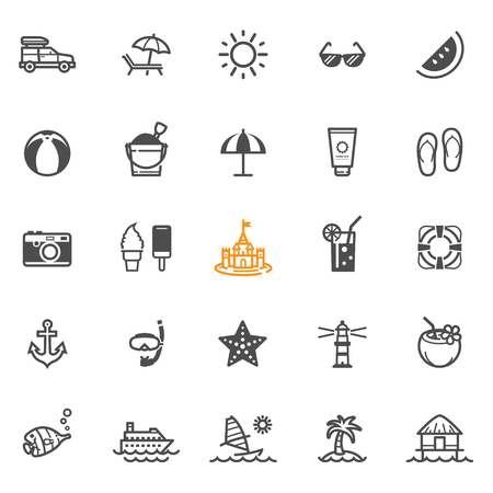 sun block: Summer and Beach Icons with White Background