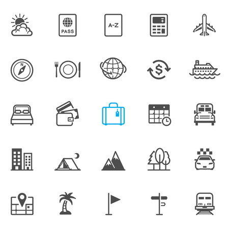 dinner cruise: Travel and Vacation Icons with White Background Illustration