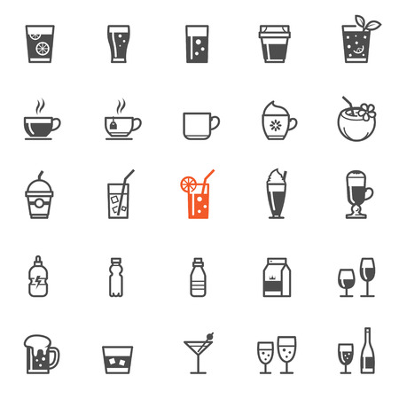 spirituous beverages: Drinks and Beverages icons with White Background