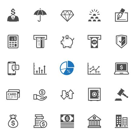 Iconos de las finanzas con el fondo blanco