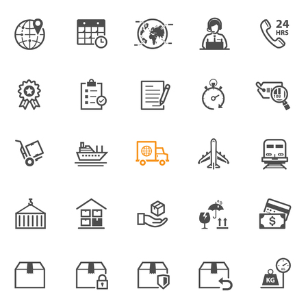 shipping: Shipping and Logistics icons with White Background