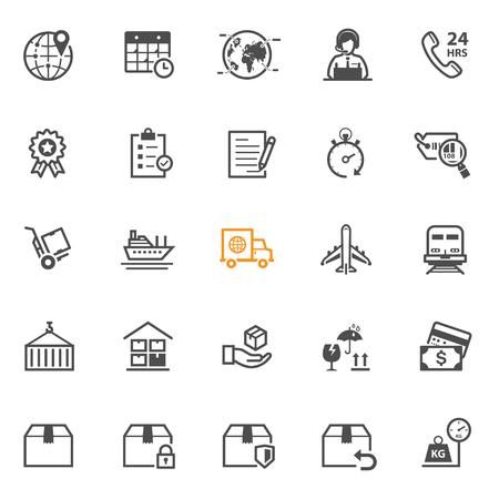 szállítás: Szállítás és logisztika ikonok fehér háttér