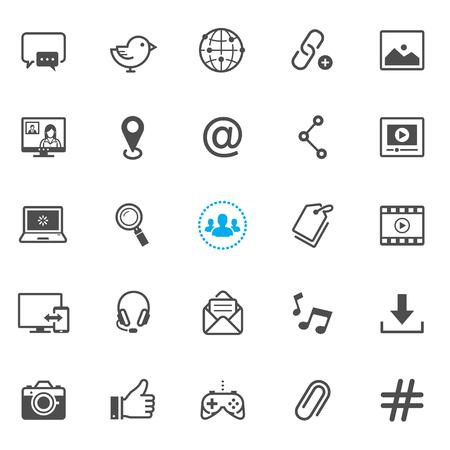 iconos de redes sociales con el fondo blanco