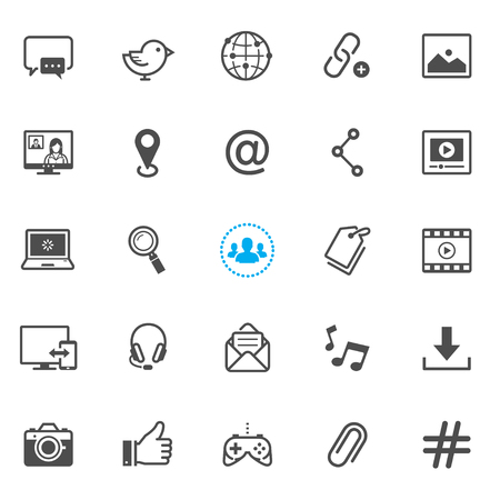 media icons: Social media icons with White Background