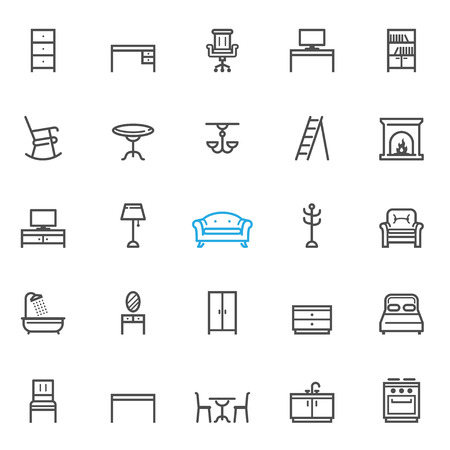 sideboard: Furniture icons with White Background