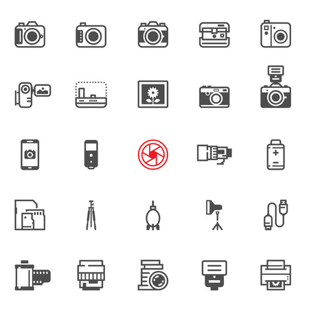 neutral density filter: Camera icons with White Background