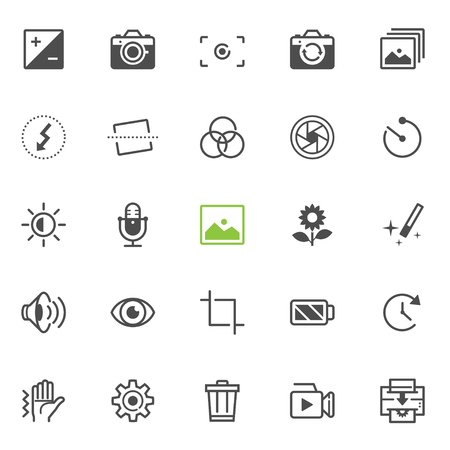 smartphone icon: Photography and Camera Function icons with White Background