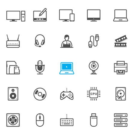 lcd monitor printer: Computer and Computer Accessories icons with White Background Illustration