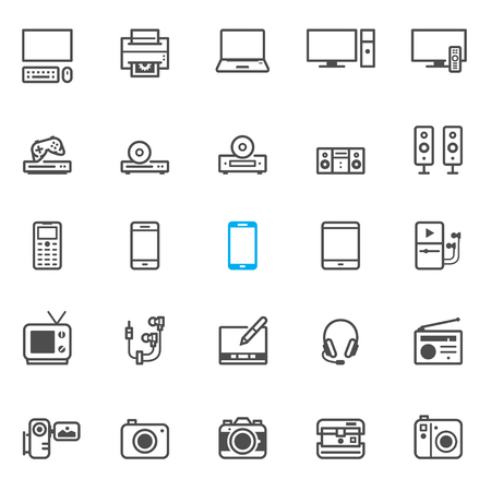 electronic devices: Electronic Devices icons with White Background