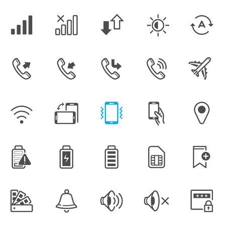 Los iconos de notificación para el teléfono móvil y la aplicación con el fondo blanco Ilustración de vector