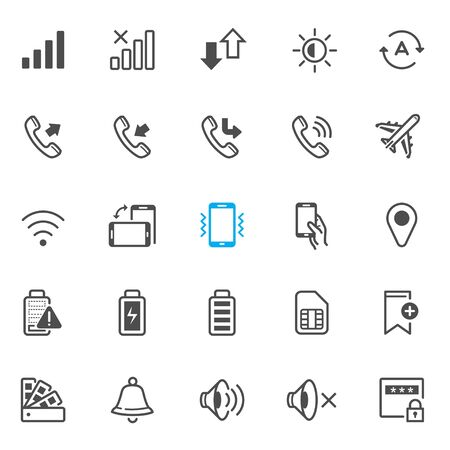 Notification icons for Mobile Phone and Application with White Background