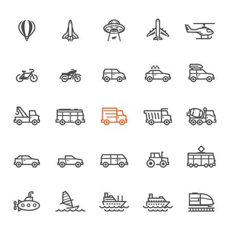 Transport et Véhicules Icônes avec fond blanc
