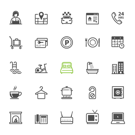 amenities: Hotel and Hotel Amenities Services icons with White Background Illustration