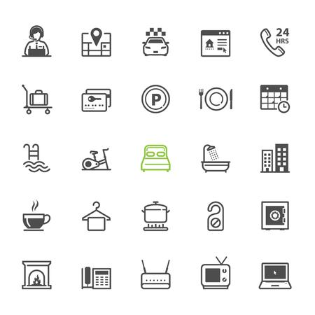 Hotel en Hotel Faciliteiten Services pictogrammen met witte achtergrond