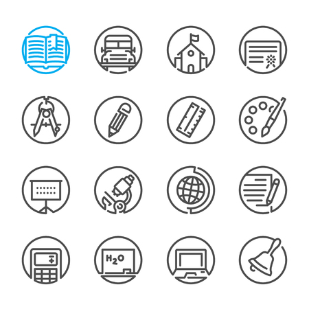 education icons: Education icons with White Background Illustration