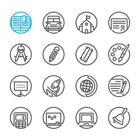 icônes de l'éducation avec fond blanc Vecteurs