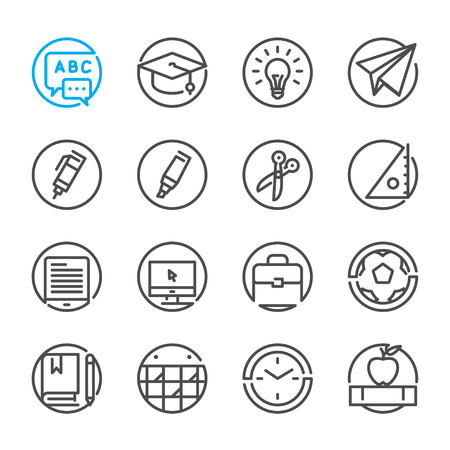 scissors icon: Education icons with White Background Illustration