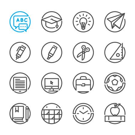 Iconos de la educación con el fondo blanco