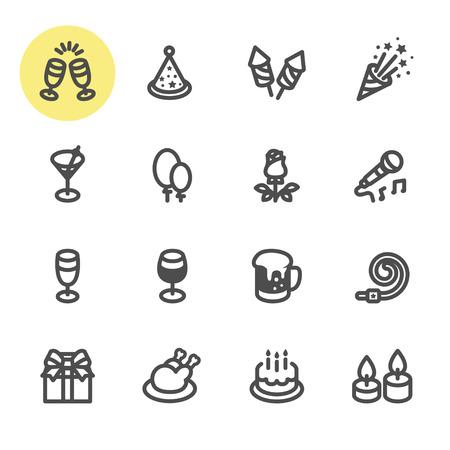 Party and Celebration icons with White Background Ilustração