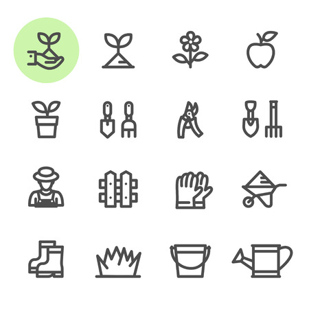pail tank: Gardening icons with White Background Illustration
