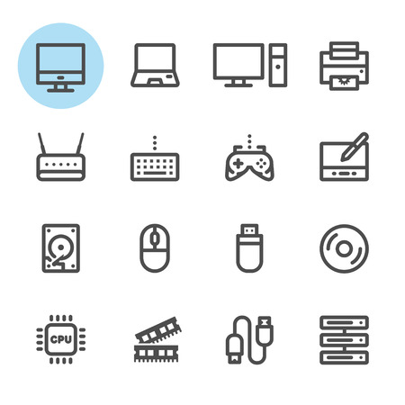 lcd monitor printer: Computer icons with White Background