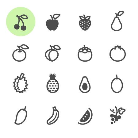 Fruits icons with White Background Ilustração