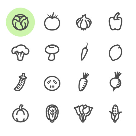 Vegetable icons with White Background