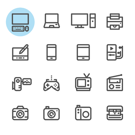 lcd monitor printer: Electronic Devices icons with White Background