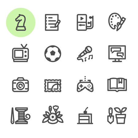 Hobbies Icons with White Background Illustration