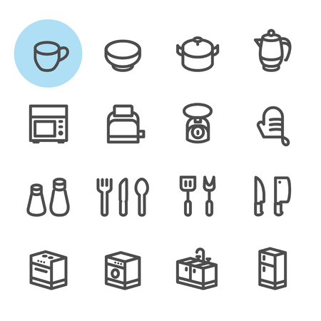 Kitchen icons with White Background