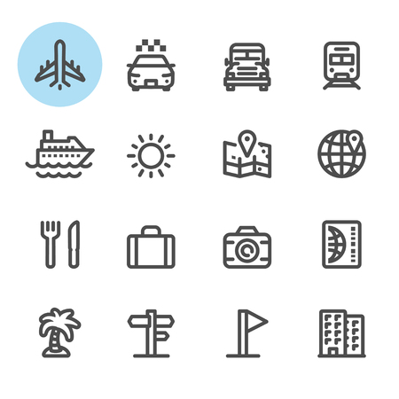 eather: Travel and Vacation icons with White Background