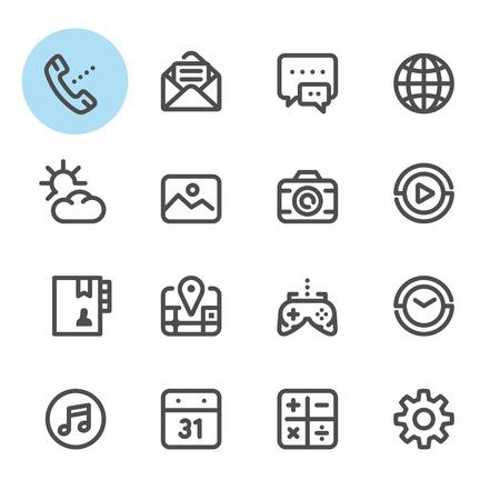 Iconos del teléfono móvil con el fondo blanco Ilustración de vector