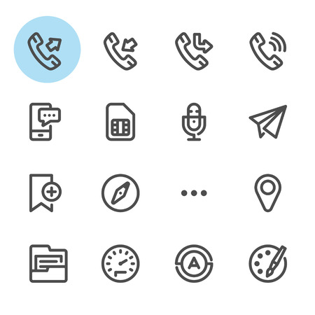 miss call: Mobile Phone icons with White Background
