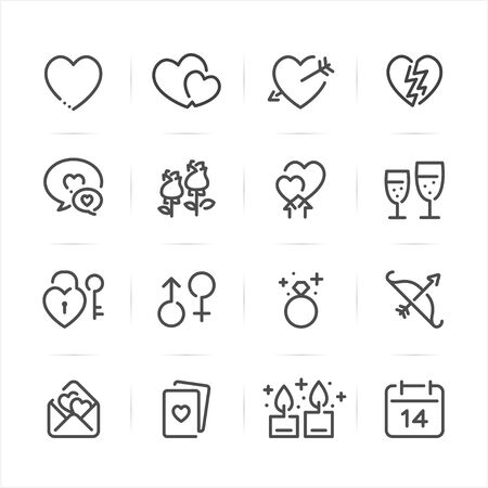 Valentines Day icons with White Background