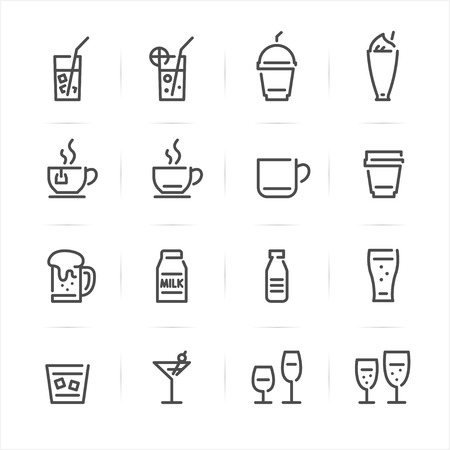 Drinks and Beverages icons with White Background