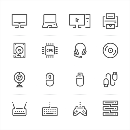 Computer and Computer Accessories icons with White Background Ilustração