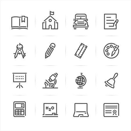 Education Icons with White Background Ilustração