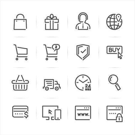 E-Commerce and Online Shopping icons with White Ilustração
