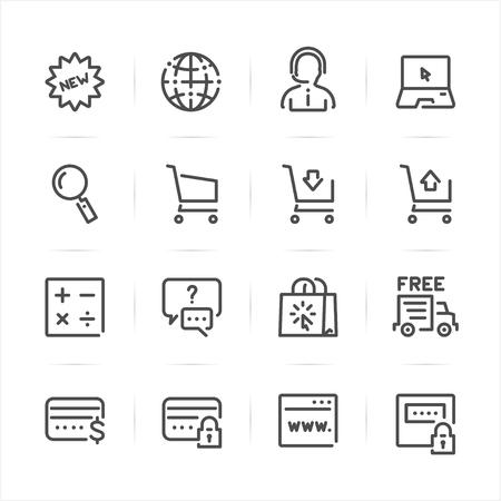 E-Commerce and Online Shopping icons with White Background Ilustração
