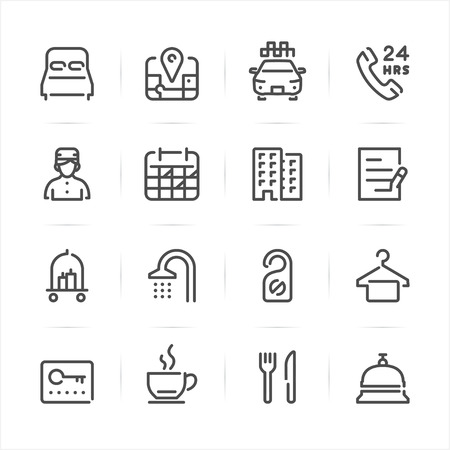 Hotel icons with White Background