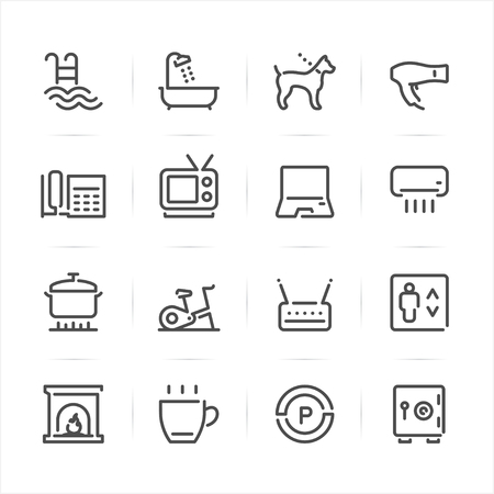 elevator operator: Hotel and Hotel Amenities Services icons with White Background Illustration