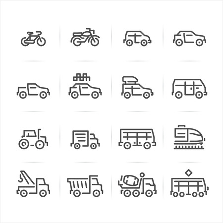 Transportation and Vehicles Icons with White