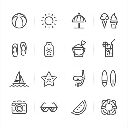 Summer and Beach icons with White Ilustração