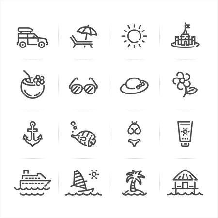 Icone di estate e di spiaggia con bianco Vettoriali