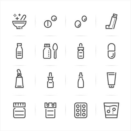 Pharmacy and Medical icons with White Background Ilustração