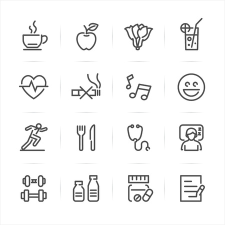 health icons: Health and Wellness icons with White Background