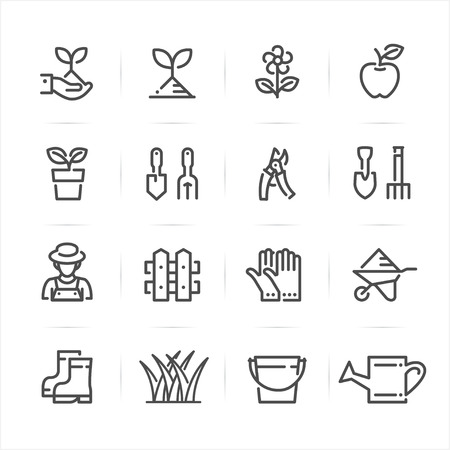 Gardening icons with White Background Ilustração